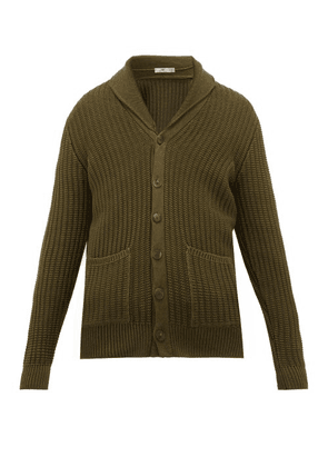 Inis Meáin - Brioche-knitted Organic Pima-cotton Cardigan - Mens - Khaki