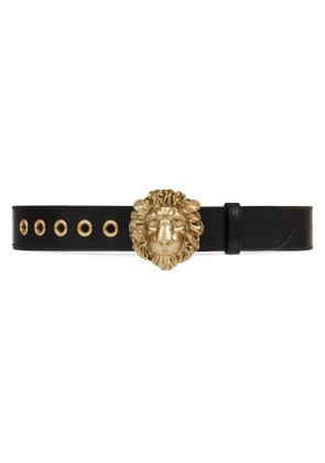 Leather belt with lion head buckle