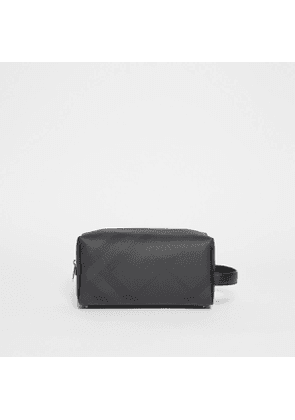 Burberry London Check and Leather Travel Pouch, Black