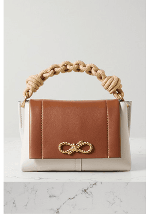 Anya Hindmarch - Bow Rope-trimmed Two-tone Leather Shoulder Bag - Ecru