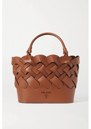 Prada - Medium Woven Leather Tote - Brown