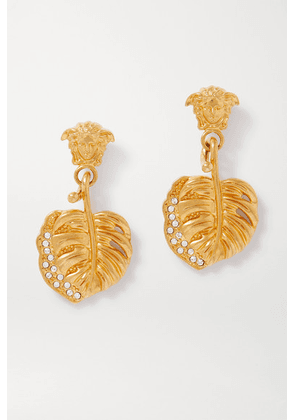 Versace - Gold-tone And Crystal Earrings - one size
