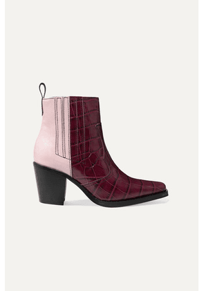 GANNI - Callie Paneled Croc-effect And Patent-leather Ankle Boots - Burgundy