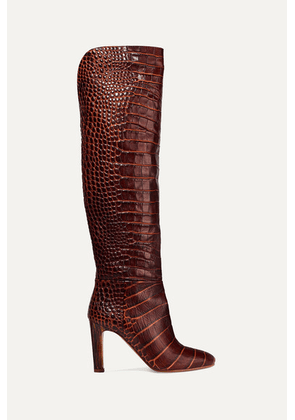 Gabriela Hearst - Linda Croc-effect Leather Knee Boots - Brown