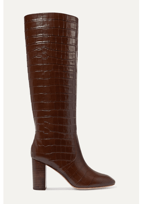 Loeffler Randall - Goldy Croc-effect Leather Knee Boots - Brown