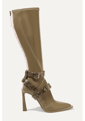 Fendi - Logo-print Coated Canvas-trimmed Glossed-neoprene Knee Boots - Brown
