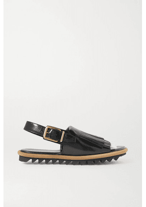 Dries Van Noten - Fringed Leather Slingback Sandals - Black