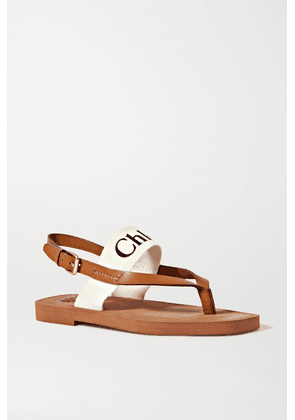 Chloé - Logo-print Canvas And Leather Sandals - White
