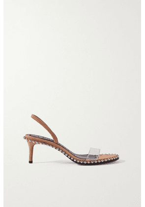 Alexander Wang - Nova Low Studded Suede And Pvc Slingback Sandals - Light brown