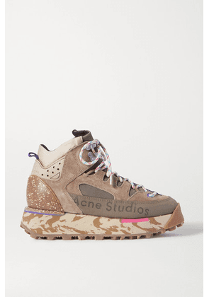 Acne Studios - Bertrand Logo-print Suede And Mesh High-top Sneakers - Army green