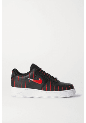 Nike - Air Force 1 Jewel Qs Pinstriped Leather Sneakers - Black