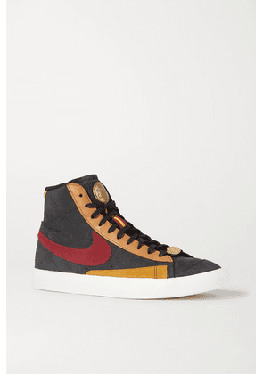 Nike - Blazer Mid '77 Qs Color-block Suede And Leather Sneakers - Burgundy