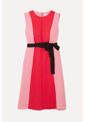 Cefinn - Belted Two-tone Voile Dress - Pink