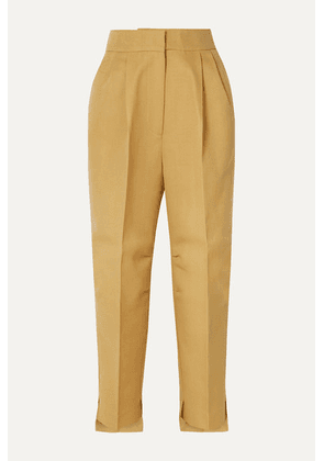 Petar Petrov - Cropped Grain De Poudre Wool And Silk-blend Tapered Pants - Beige