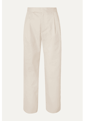 Deveaux - Isabella Cropped Pleated Twill Straight-leg Pants - Cream