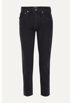 AGOLDE - Jamie Distressed Organic High-rise Straight-leg Jeans - Black