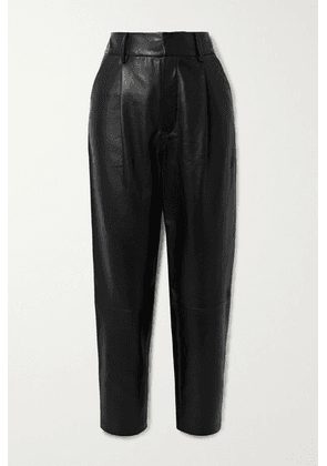 Anine Bing - Becky Cropped Leather Straight-leg Pants - Black
