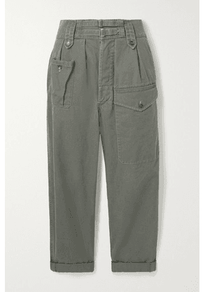 SAINT LAURENT - Cotton And Ramie-blend Drill Cargo Pants - Gray green