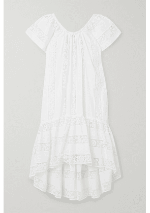 Miguelina - Danica Crochet-paneled Embroidered Cotton-voile Dress - White