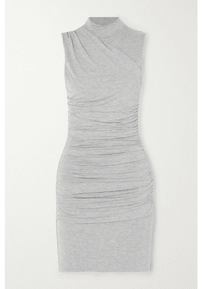 The Line By K - Ayme Ruched Mélange Stretch-jersey Mini Dress - Gray