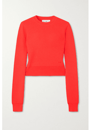 Victoria, Victoria Beckham - Neon Ribbed Pointelle-knit Sweater - Coral