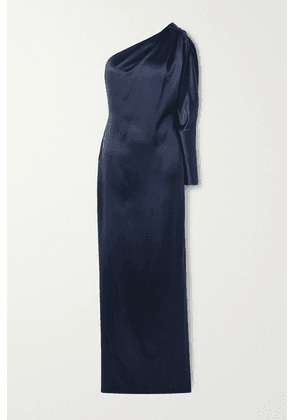 Cushnie - One-sleeve Draped Crystal-embellished Silk-charmeuse Gown - Navy