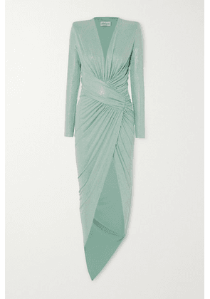 Alexandre Vauthier - Asymmetric Ruched Crystal-embellished Stretch-jersey Gown - Mint