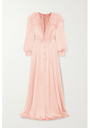 Ralph & Russo - Feather-trimmed Silk-satin Gown - Pink