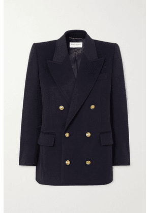 SAINT LAURENT - Double-breasted Wool And Cashmere-blend Blazer - Navy