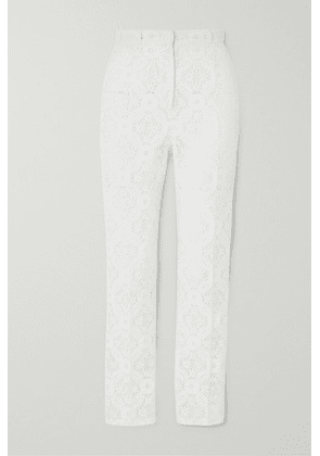 Alexander McQueen - Cotton-blend Guipure Lace Tapered Pants - White