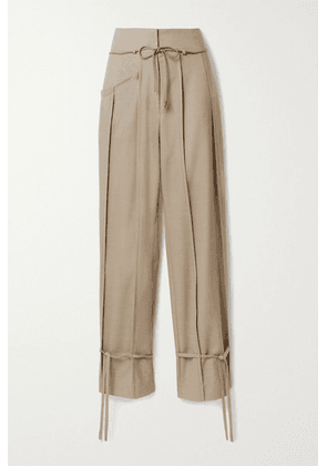 Andersson Bell - Katina Tie-detailed Pleated Wool-blend Tapered Pants - Beige