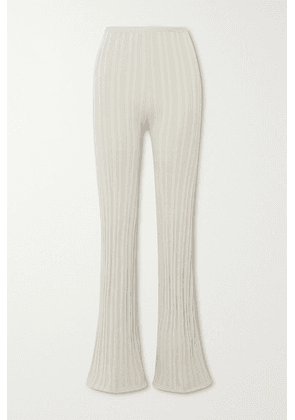 The Line By K - Daisy Ribbed-knit Flared Pants - Beige