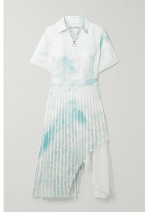 Andersson Bell - Asymmetric Layered Printed Satin And Crepe De Chine Midi Dress - Mint