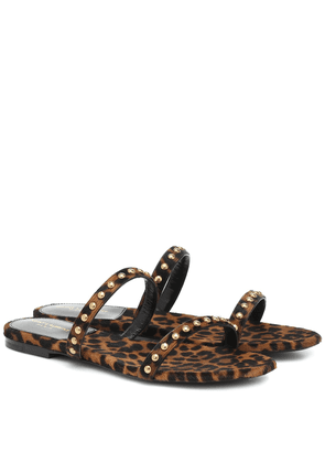 Kiki leopard-print calf hair sandals