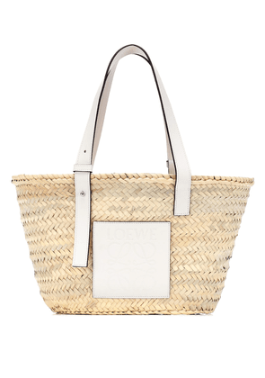 Medium leather-trimmed basket tote