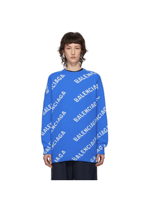 Balenciaga Blue and White All Over Logo Sweater