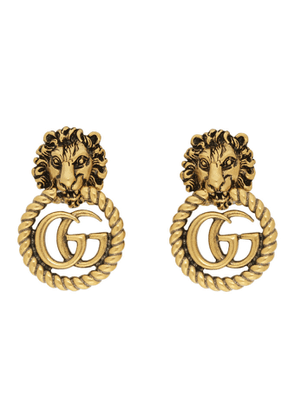 Gucci Gold Double G Lion Head Clip-On Earrings