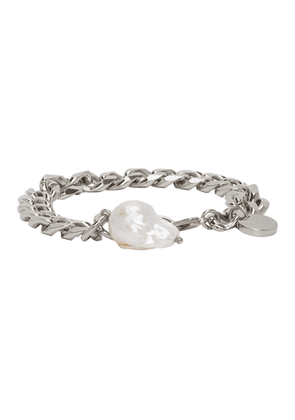 Givenchy Silver Long Pearl Chain Bracelet