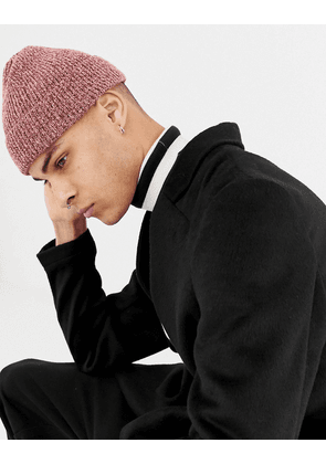 ASOS DESIGN fisherman beanie in pink twist