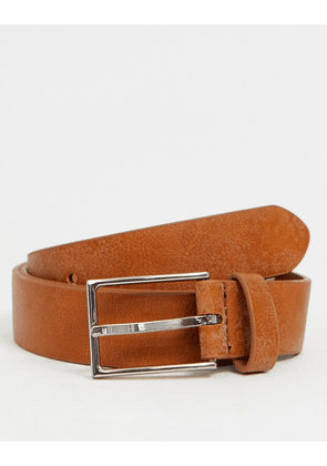 ASOS DESIGN smart faux leather slim belt in tan