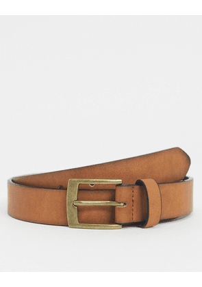 ASOS DESIGN slim belt in tan faux leather
