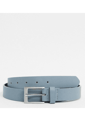 ASOS DESIGN Plus Wedding slim belt in light blue faux leather