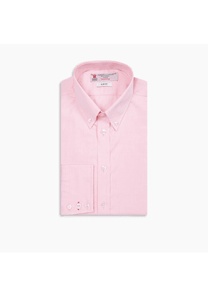 Slim Fit Pink Oxford Cotton Shirt with Button-Down Collar and.