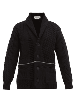 Alexander Mcqueen - Double Zip Rib-knitted Wool Cardigan - Mens - Black Red