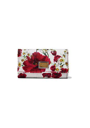 Dolce & Gabbana Printed Textured-leather Key Holder Woman White Size --