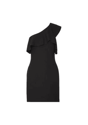 Elizabeth And James Jerard One-shoulder Ruffled Stretch-ponte Mini Dress Woman Black Size 2