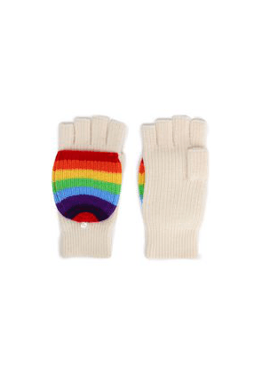 Madeleine Thompson Ribbed Striped Wool And Cashmere-blend Fingerless Gloves Woman Ivory Size ONESIZE