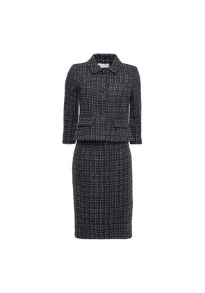 Mikael Aghal Metallic Tweed Skirt Suit Woman Midnight blue Size 4