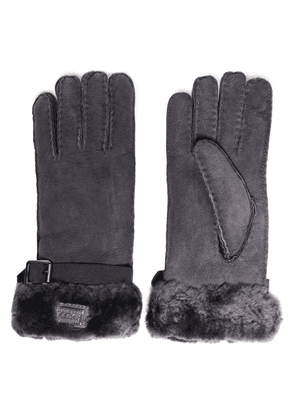 Australia Luxe Collective Buckle-detailed Shearling Gloves Woman Dark gray Size XL