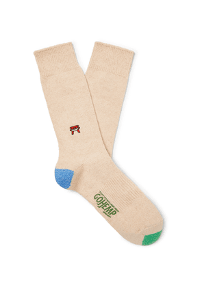 Anonymous Ism - Embroidered Knitted Socks - Neutrals